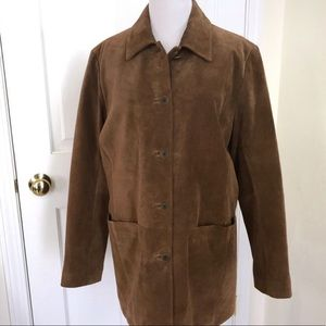 Lands' End Car Coat Brown Suede Cow Leather Small